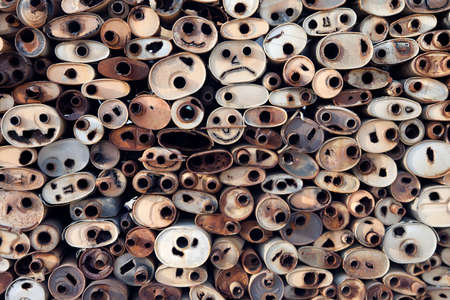 carbondioxide: Old rusted mufflers stacked for a background