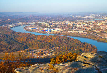 lookout: View of Chattanooga, Tennessee from Lookout Mountain Stock Photo