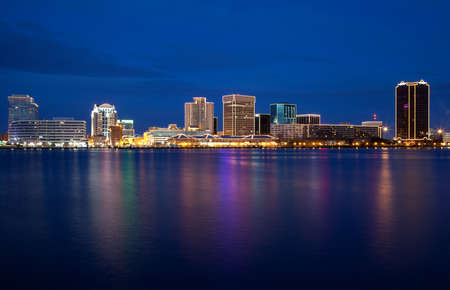 Norfolk, Virginia skyline at dusk with Christmas lights.