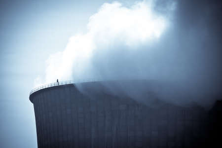 tritium: Close-up of steam from nuclear power plant cooling tower