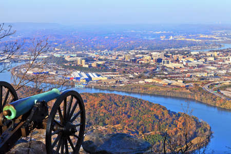 overlook: View of Chattanooga from Lookout Mountain Stock Photo