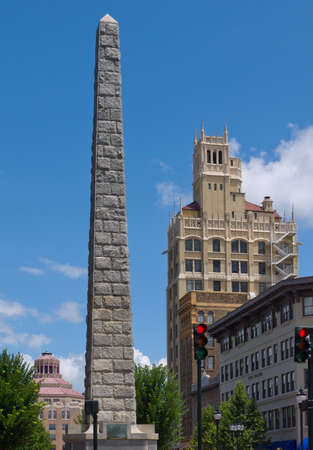 asheville: View of historic buildings in downtown Asheville, North Carolina. Stock Photo