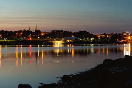 City of Bangor, Maine skyline at dusk