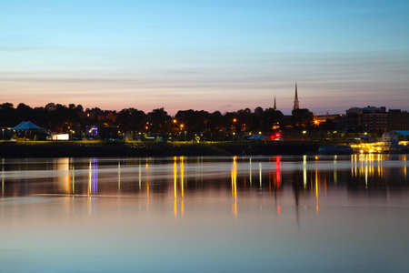 City of Bangor, Maine skyline at dusk