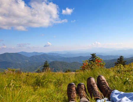 Hikers enjoying the view on Round Bald, Roan Mountain State Park, North Carolina photo