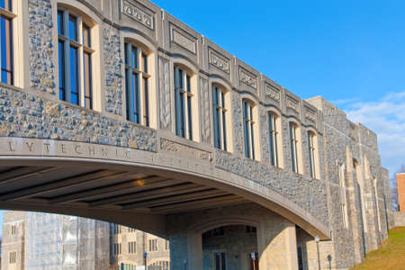 educational institution: Torgersen Hall and bridge to Newman Library at Virginia Tech