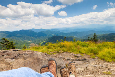 roan: Hikers enjoying the view on Round Bald, Roan Mountain State Park, North Carolina.