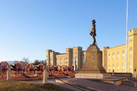 Stonewall Jackson statue and cannons at Virginia Military Institute