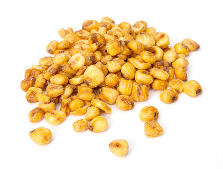 corn: A pile of roasted corn nuts on a white background Stock Photo