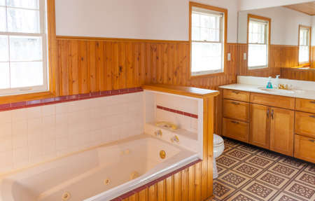 wood panel: Wood panel bathroom with jacuzzi bathtub