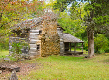 outdoor fireplace: Walker Sisters Cabin in the Great Smoky Mountains National Park Stock Photo