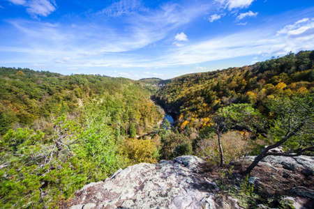 bluff: View of Clear Creek from Lilly Bluff Overlook at Obed Wild and Scenic River national park. Stock Photo