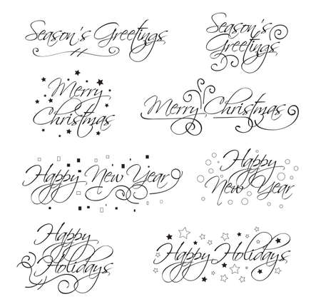 seasons greetings: A selection of script holiday type with merry christmas, happy holidays, seasons greetings and happy new year