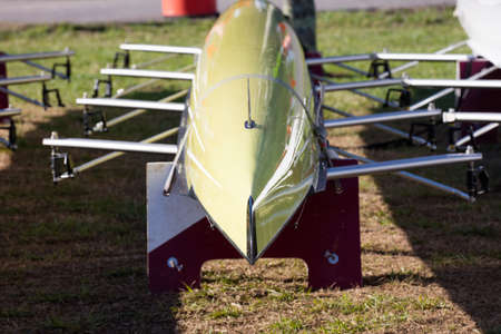 upside down: Octuple Scull stored upside down and viewed from the front Stock Photo