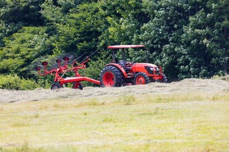 Tractor pulling a wheel rake for making round bales of hay