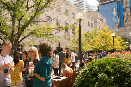 NASHVILLE, TENNESSEE, SEPTEMBER 16: A group of creatives socialize in the Martha Rivers Ingram Garden Courtyard during the 2016 Brand New Conference on September 16, 2016.
