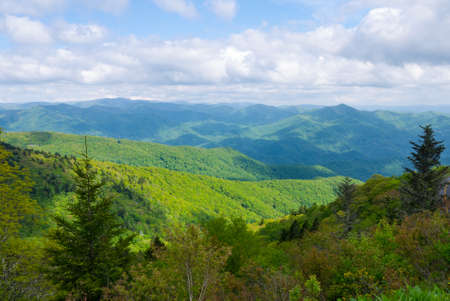 appalachian: View of Appalachian Mountains from Roan Mountain in North Carolina Stock Photo