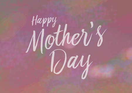 notecard: Happy Mothers Day Card with calligraphy type, pink background and flower