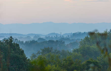 Early morning view of the Smoky Mountains from Seven Islands State Birding Park.