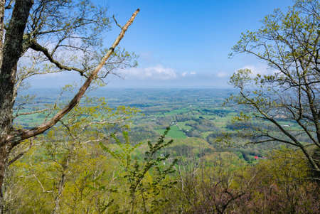 View of the beautiful East Tennessee landscape from an overlook on the top of a ridge at House Mountain Natural Area Stok Fotoğraf
