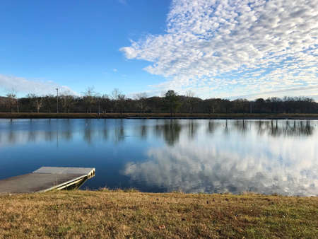 View of Oak Ridge Marina on a cool autumn day with lake view and a blue sky. Stok Fotoğraf