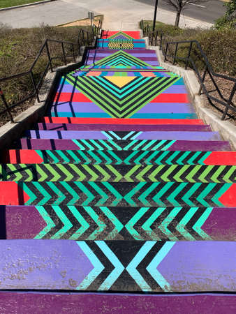 Colorful painted stairs at The University of Tennessee campus in Knoxville, Tennessee, USA Stok Fotoğraf