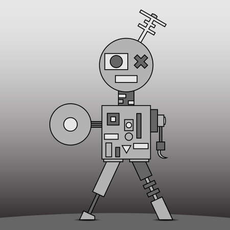 robot with shield: cartoon retro gray electronical and mechanical robot