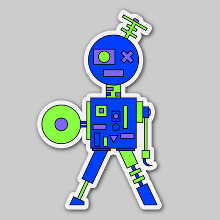 sticker - cartoon retro colored electronic and mechanical robot Vector