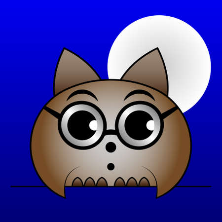 hesitate: astonished brown owl with glasses, big eyes and with the Moon on a blue background