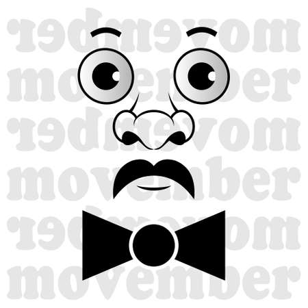 the head of a man with a black mustache and bow tie Ilustração