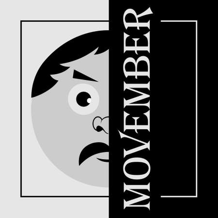 requisite: Movember - the head of a man with a black mustache and text
