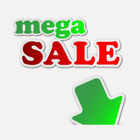 mega sale: mega sale - information sign with green arrow and text Illustration
