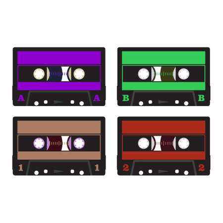 dubbing: retro audio cassette in violet, green, brown and red