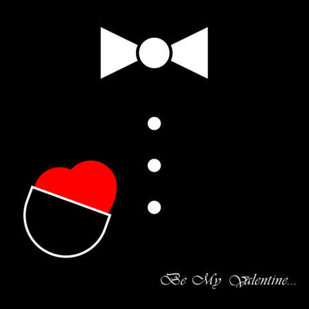 night suit: Black mens suit with bow tie, buttons and red heart Illustration