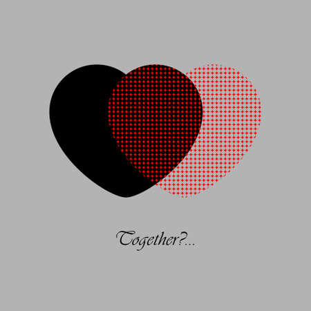 Two red and black hearts with text on a gray background