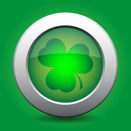 ulster: metal button with the green shamrock on a green background