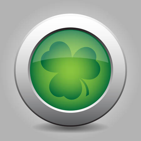 newfoundland: metal button with the green shamrock on a grey background