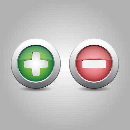 green plus: plus and minus in green and red colours on a gray background Illustration