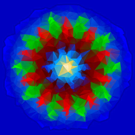 vane: abstract polygon vane in blue, red, green and yellow on a blue background Illustration