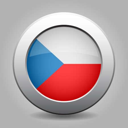 czech flag: pulsante di metallo con la bandiera ceca su uno sfondo grigio