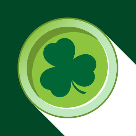 vector button with dark green shamrock and with stylized shadow