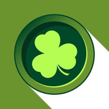 terranova: vettore pulsante con la luce trifoglio verde e con ombra stilizzata