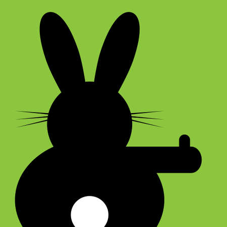 rabbits: sitting and hitchhiking bunny on a green background