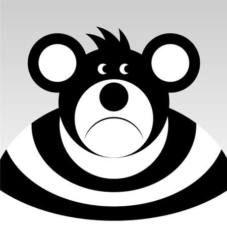 miserable: sad cartoon bear with a big ears in black and white shirt