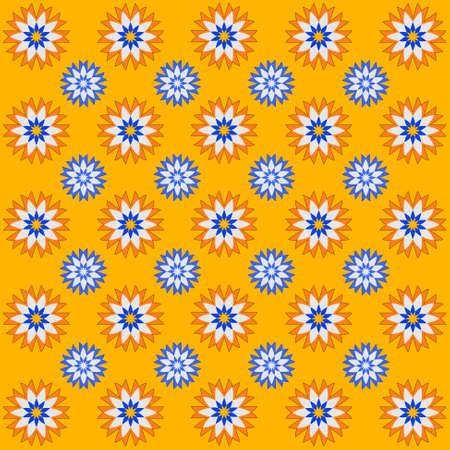 dinky: Spring decorative background with flowers in orange, blue, white and yellow Illustration