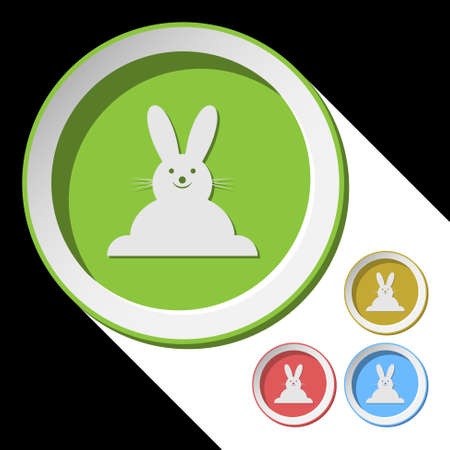 vector color icons with Easter bunny and stylized shadow Vector