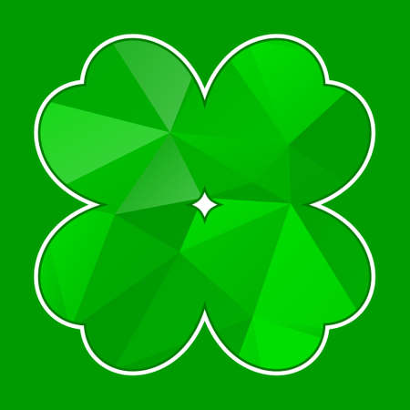 patron saint of ireland: vector green polygon cloverleaf with white contour on a green background
