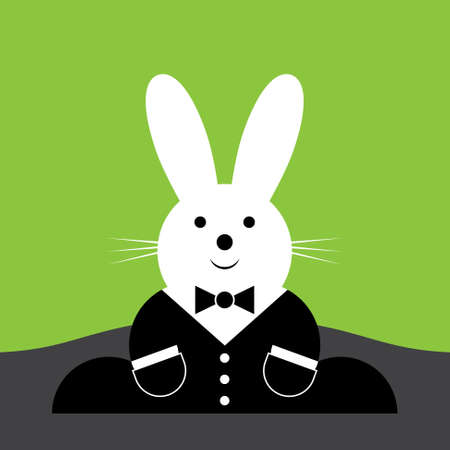rejoice: vector sitting smiling Easter bunny with suit and pockets on a green background Illustration