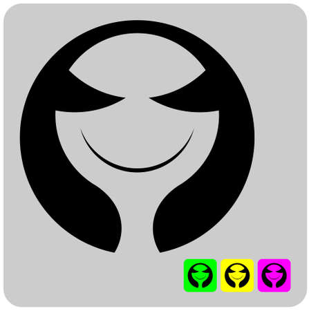 macrocosm: cheerful stylized alien face in three color variations