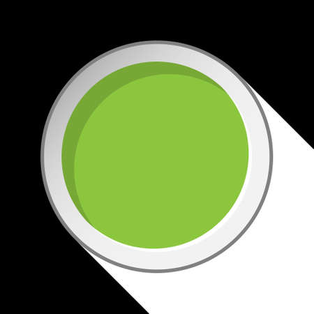 green circle with stylized shadow on a black background Vector